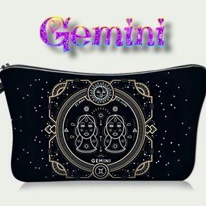 Astrology Gemini Makeup Bag Black Zodiac